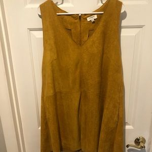 Umgee yellow suede mini dress with pockets!